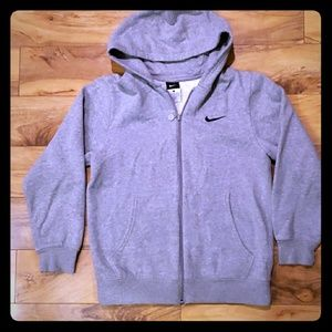 boys youth large Nike zip up jacket with hood gray